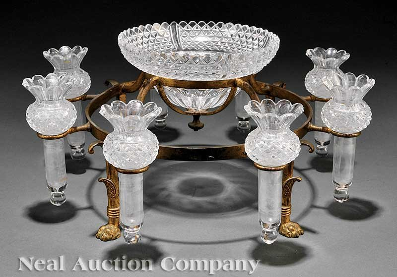 0852: Continental Gilt and Cut Glass Epergne