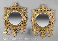 0867 Aesthetic Gilded Brass Mirrored Wall Sconces