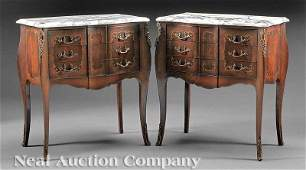 1202: Inlaid Mahogany and Marble Top Petite Commodes