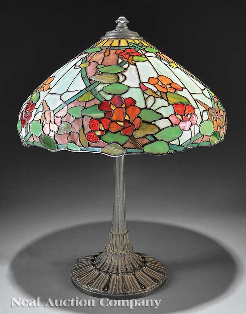 1273: American Leaded Slag Glass and Bronze Table Lamp