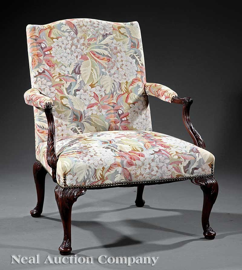 8: George III-Style Carved Mahogany Library Chair