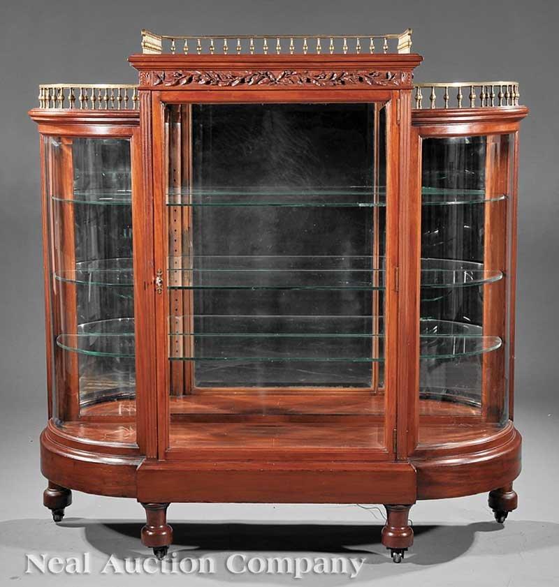 11: Pair Aesthetic Carved Mahogany Vitrine Cabinets