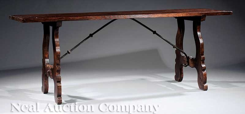 16: Renaissance-Style Walnut Trestle Table - 2