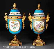 195 Gilt BronzeMounted Polychrome Porcelain Urns