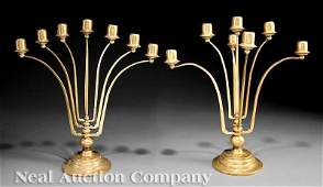 200 Pair Gilt Bronze SevenLight Candelabra