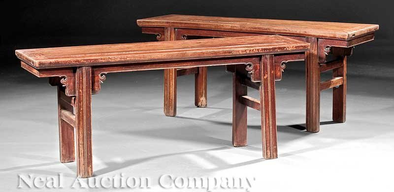 525: Chinese Carved Wood Recessed-Leg Benches