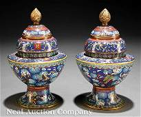 585 Chinese Cloisonne Enamel Covered Stem Bowls