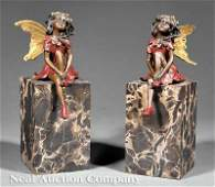 627 Pair of Bronze Figural Bookends