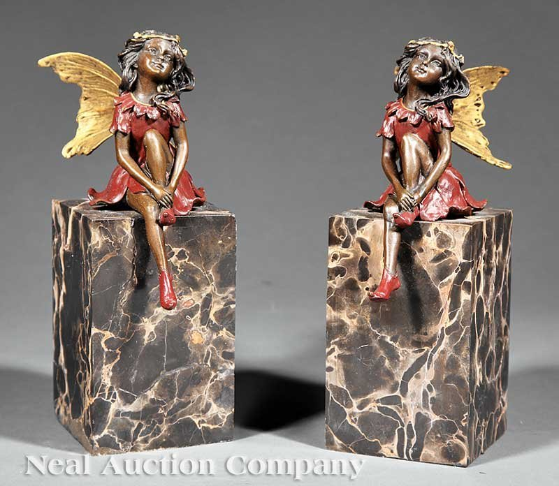 627: Pair of Bronze Figural Bookends