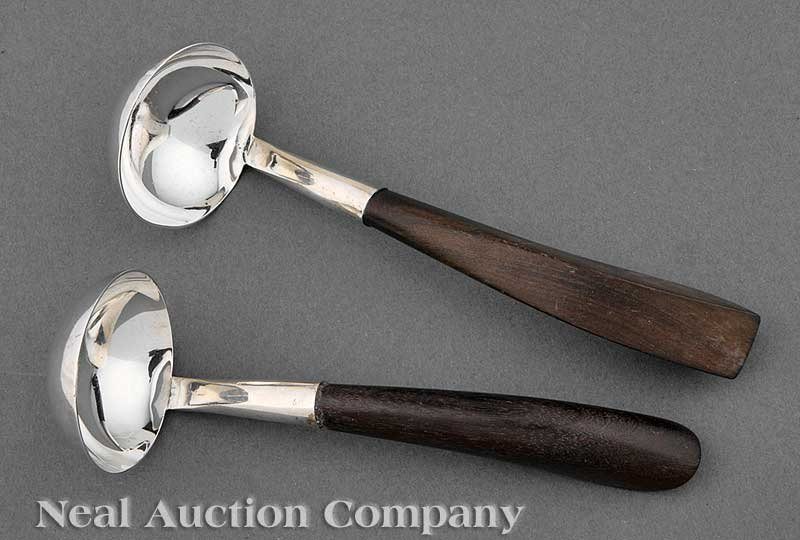 633: Two Mexican Sterling Silver & Wood Sauce Ladles