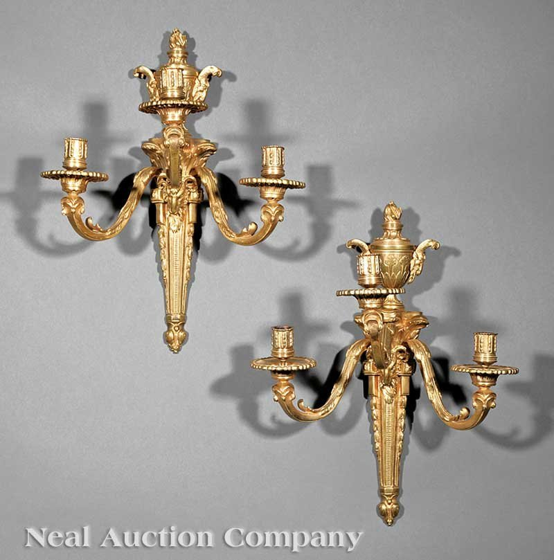 1097: Pair of Louis XVI-Style Dore Bronze Sconces