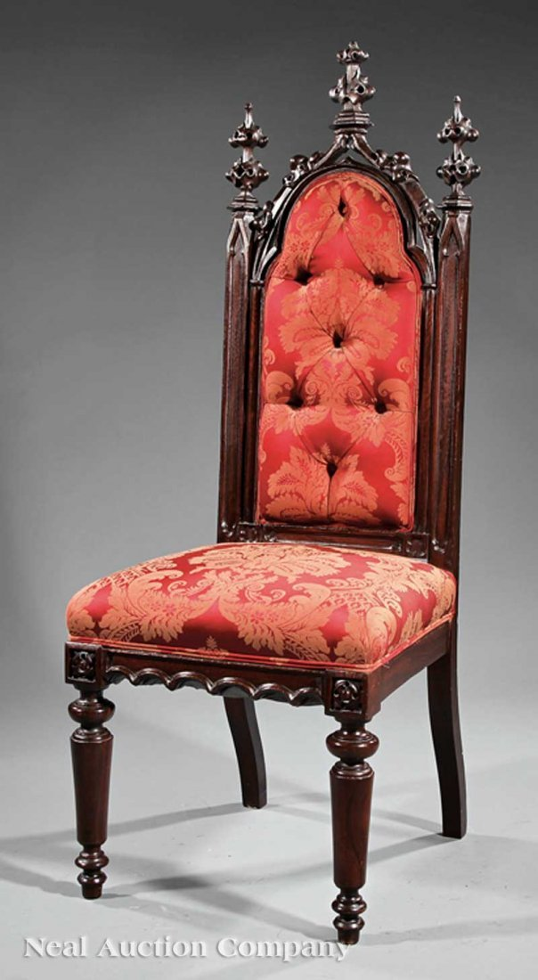 12: American Gothic Carved Rosewood Hall Chair