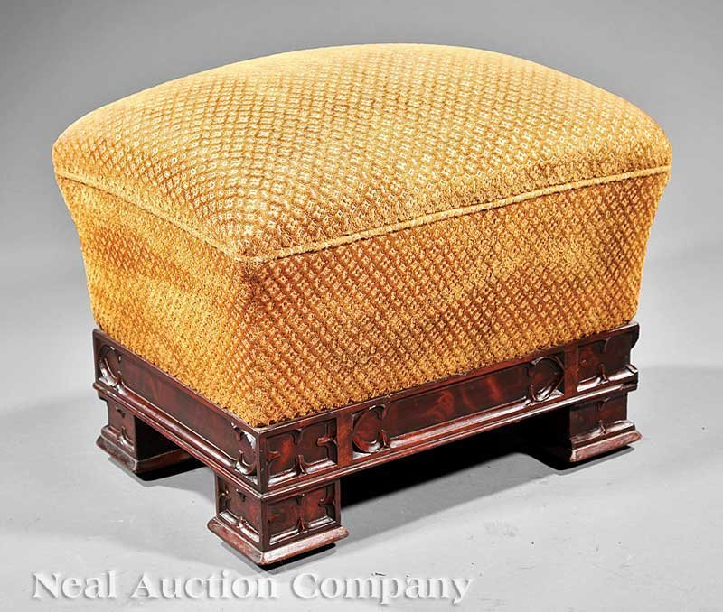 13: American Gothic Carved Mahogany Footstool