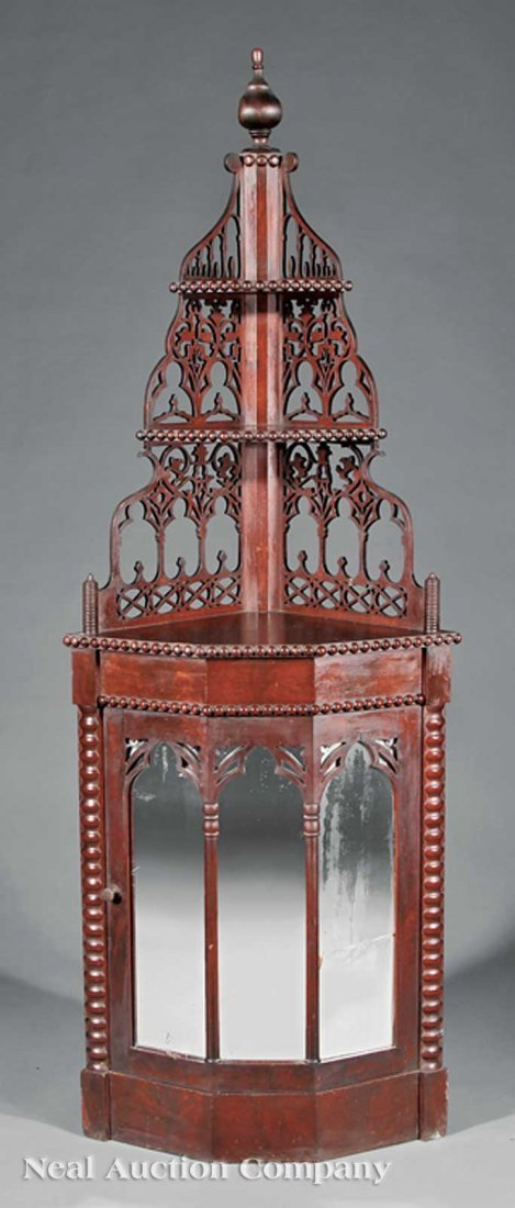 14: American Gothic Carved Rosewood Cabinet Etagere