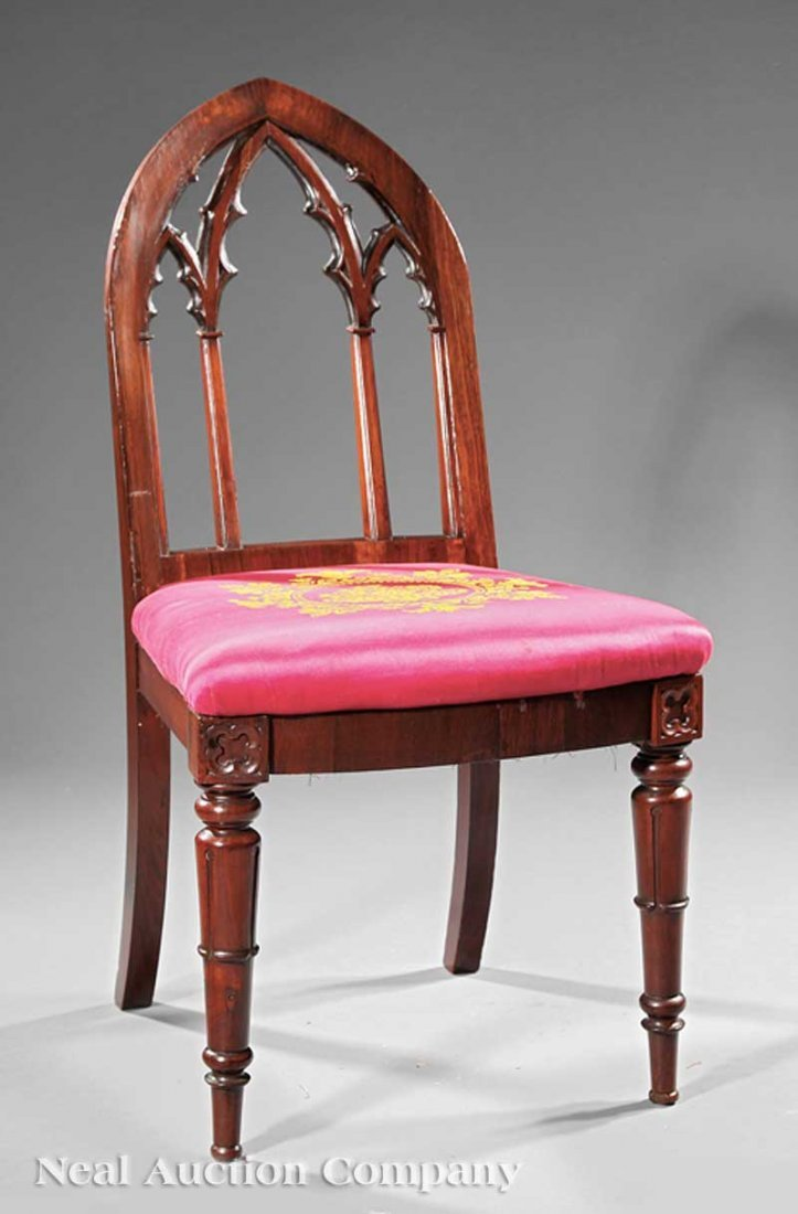 16: American Gothic Carved Mahogany Side Chair