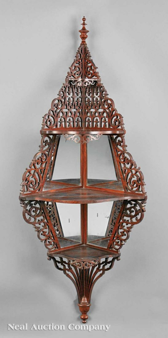 17: Meeks Gothic Carved Rosewood Hanging Etagere