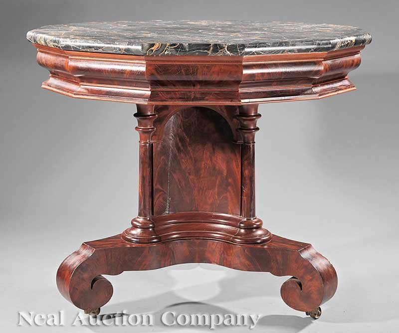 18: Meek Carved Mahogany Center Table
