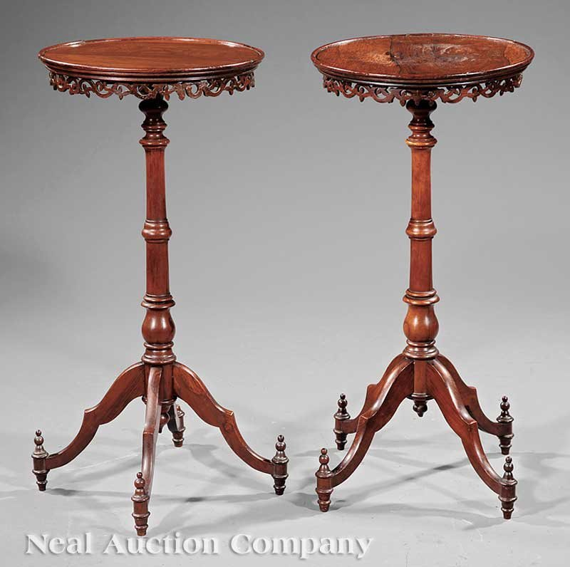 19: American Turned, Carved Rosewood Candlestands