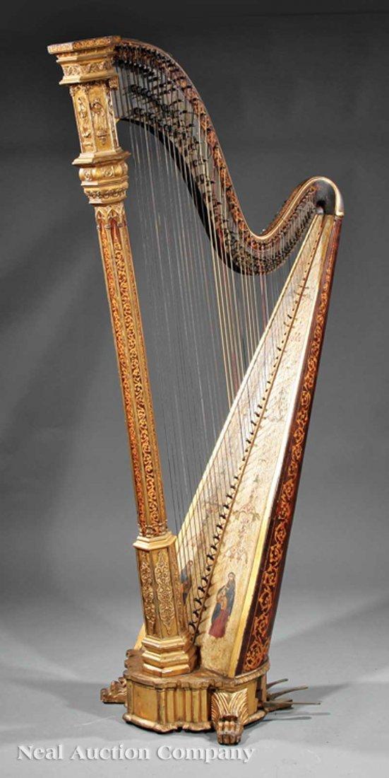 108: R. & L. Lewis Gilt Rosewood Grand Action Harp