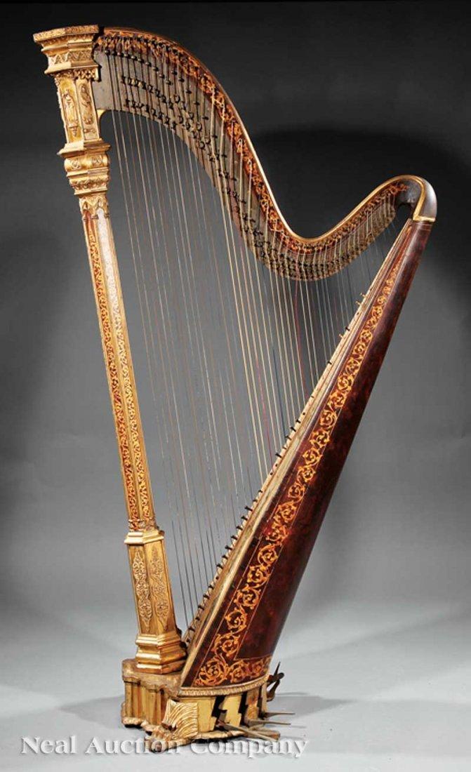 108: R. & L. Lewis Gilt Rosewood Grand Action Harp - 2
