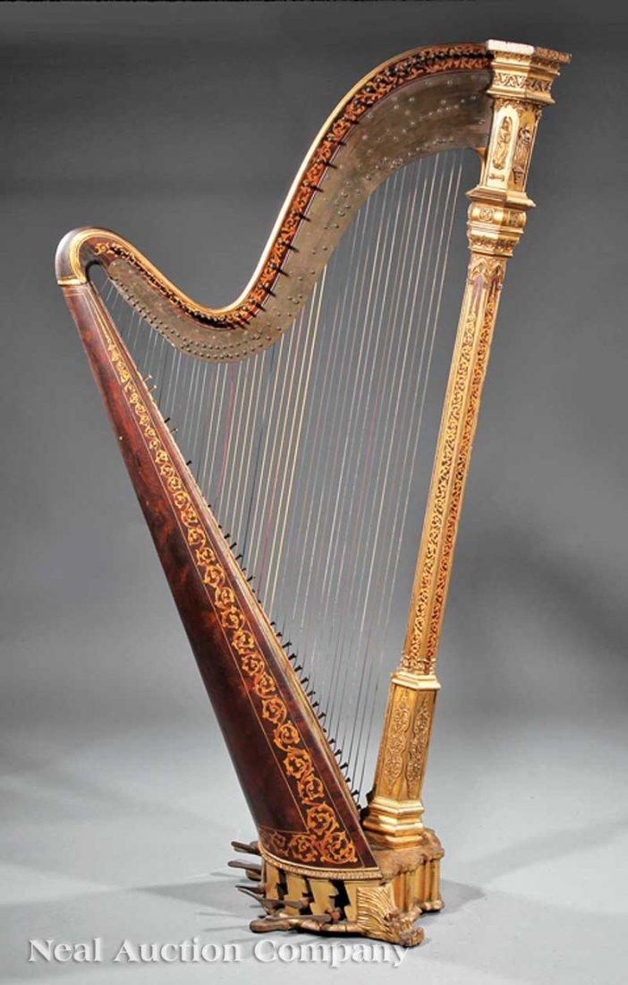 108: R. & L. Lewis Gilt Rosewood Grand Action Harp - 3
