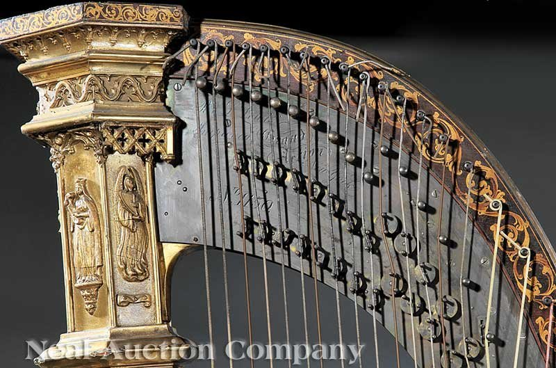 108: R. & L. Lewis Gilt Rosewood Grand Action Harp - 4