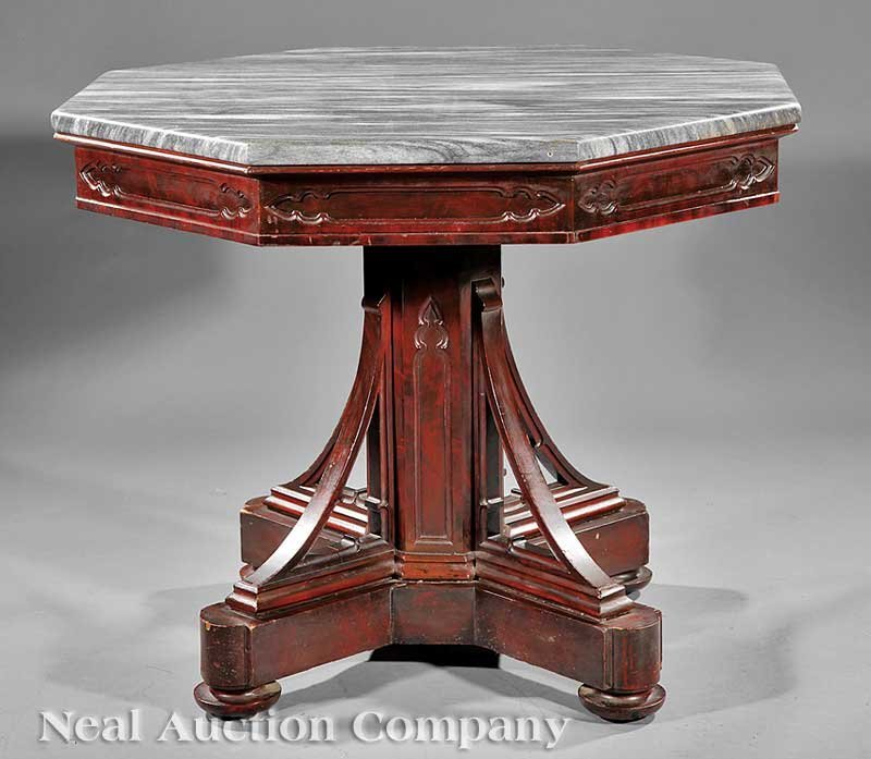 114: American Gothic Carved Walnut Center Table