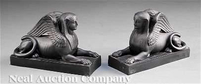 124: Pair of Wedgwood Basalt Figures