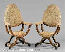 355 Italian RenaissanceStyle Carved Walnut Armchairs