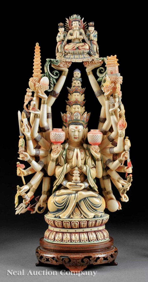 701: Chinese Polychrome Decorated Ivory Figure