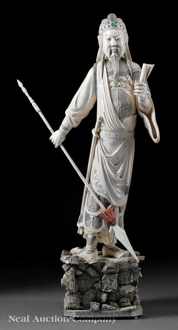 Chinese Gem Inset Stained Ivory Figure of Guandi