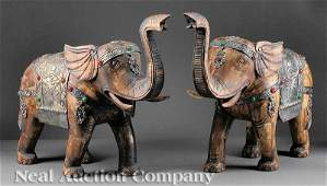 716: Chinese Gem Inset Silver Carved Wood Elephants