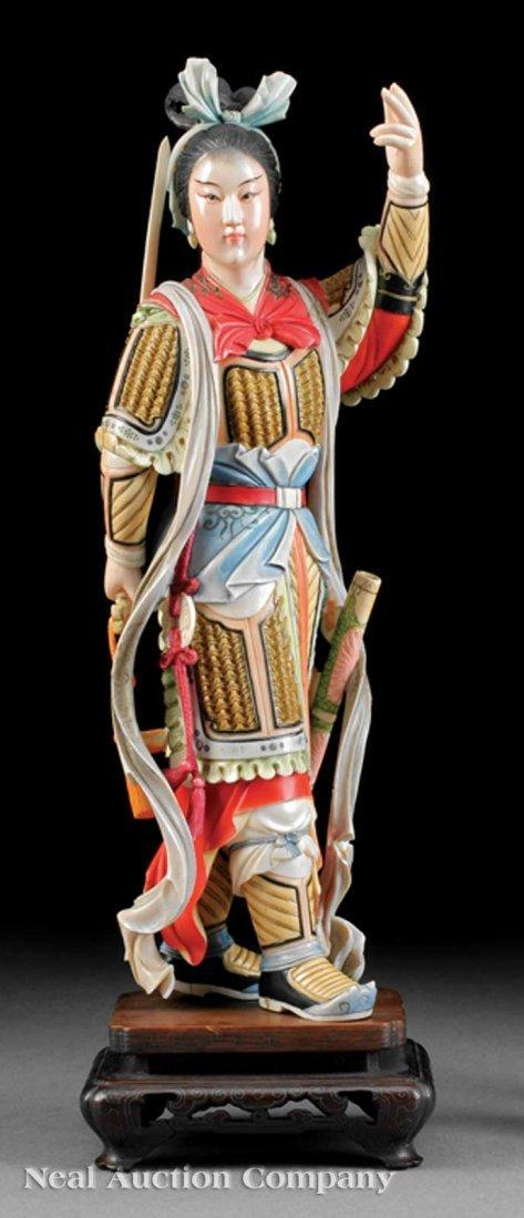 742: Chinese Polychrome Ivory Figure of Hua Mulan