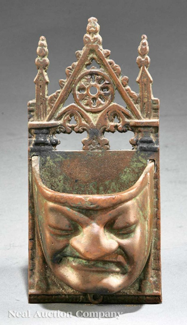 781: American Gothic Bronze Figural Wall Pocket