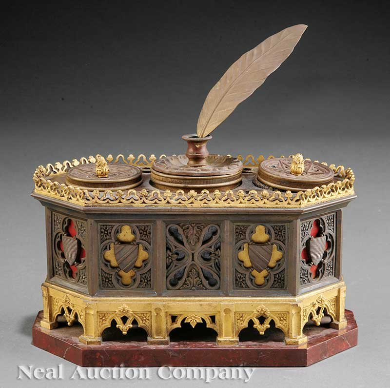 783: French Gothic Bronze and Ormolu Encrier