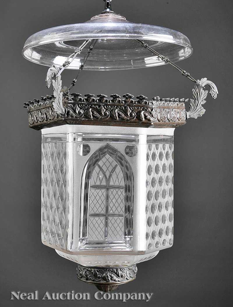784: American Pressed Bronze Hall Lantern