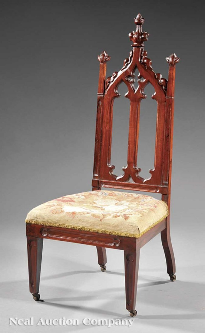 787: American Gothic Carved Rosewood Child's Chair