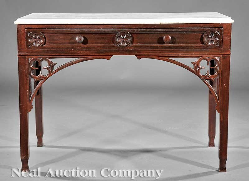 788: American Gothic Carved Walnut Console Table