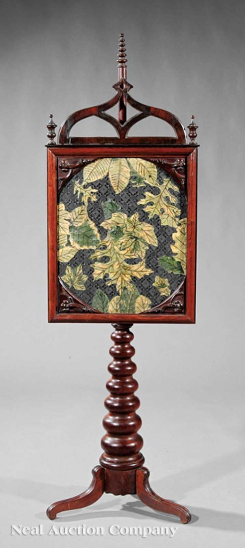 789: American Gothic Carved Rosewood Pole Screen