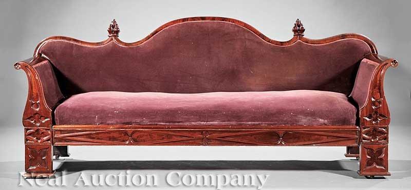 795: American Gothic Carved Mahogany Sofa