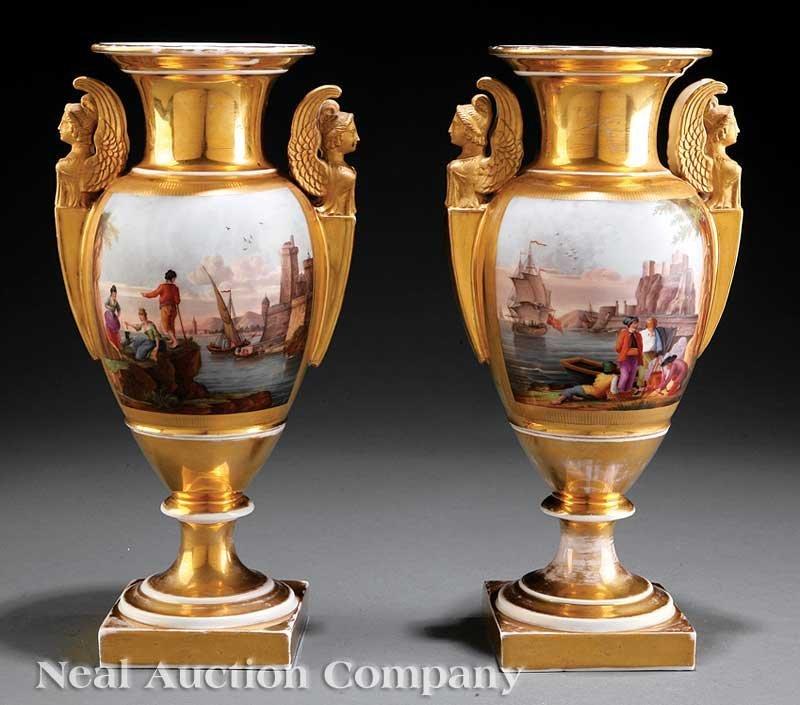 801: Pair of Paris Porcelain Vases