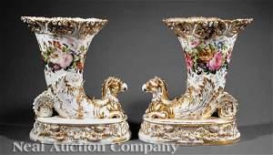 1134 Paris Porcelain Gilt Polychrome Cornucopia Vases
