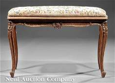 1220: Louis XV-Style Carved Walnut Bench