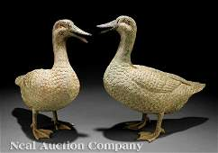 1259 Pair of Patinated Bronze Fountain Ducks