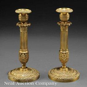 0008: Pair of Charles X Gilt Bronze Candlesticks