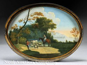 Georgian Tole Peinte Oval Gallery Tray