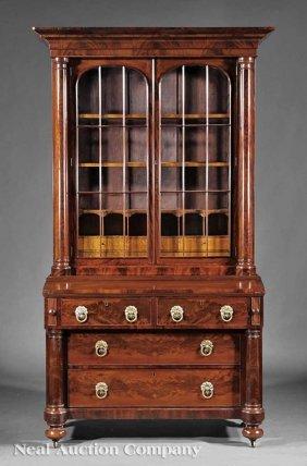 0011: Carved Mahogany Secretary Bookcase, Rufus Pierce