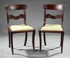 0013: Classical Carved Mahogany Side Chairs