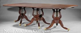 0014: Federal-Style Carved Mahogany Dining Table
