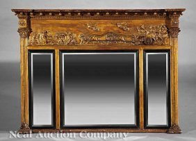 Regency Carved Giltwood Overmantel Mirror